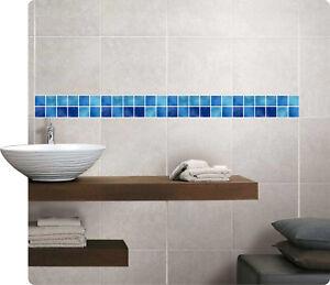 Mosaik Bordüre Blau Fliesenaufkleber Fliesenbild Fliesen Sticker Fliesenimitat