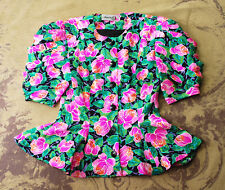 VINTAGE 80's ADRIANNA PAPELL FLORAL ROSE PEPLUM SHIRRED PUFF SLEEVE BLOUSE TOP 6