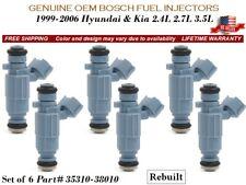 6 Fuel Injectors OEM Bosch > 1999-2006 Hyundai & Kia 2.4L 2.7L 3.5L #35310-38010