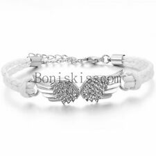 Vintage Angel Wing Leather Braided Men's Women Cuff Bangle Bracelet Wristband