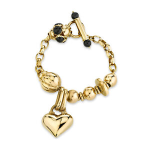 "Italian Charm Heart Bracelet with Onyx 18K Yellow Gold 8.0 "" Long"