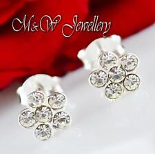 925 Silver Rhodium Plated FLOWER Stud Earrings with Clear Cubic Zirconia 7mm