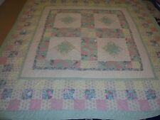 Nice Multi-Color Table Top w/Exploding Star & Hourglass & Granny Sq Frame Quilt