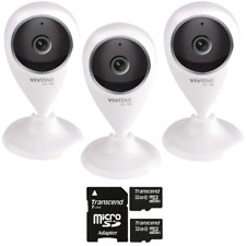 Three Vivitar IPC-112 Wi-Fi Security Cameras with Two 32GB MicroSD Cards