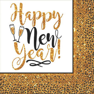 Gold Glitter Happy New Year Luncheon Napkins-NEW-36 count