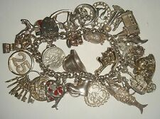 HEAVY VINTAGE STERLING SILVER CHARM BRACELET X 30 CHARMS  - 107g