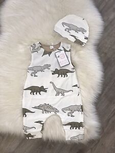 Baby Boys Toddler Romper Suit All In One Dungaree Dinosaur Spanish Style Outfit