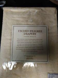 $119 NEW RH Restoration Hardware Etched Filigree Drapery Ivory Rod Pocket 50x108