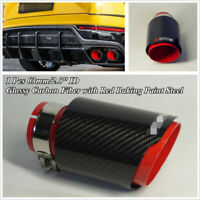1 Pcs 63mm/2.5'' ID Glossy Black Carbon Fiber+Red Stainless Car Exhaust Tip Pipe