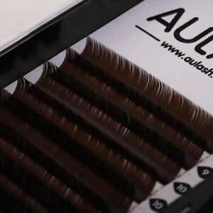 AULASH all size eyelash extensions dark brown flat individual oval mink lashes