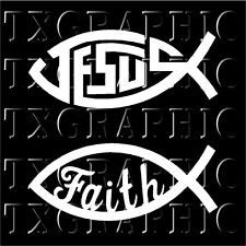 """2 Christian Fishes Jesus Faith Decals Stickers  Window Wall  6""""W X 2.5""""H each"""