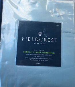 Fieldcrest Full 700TC Supima Classic Hemstitch Sheet Set - aqua spill H3