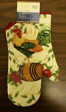 """Fabric Printed 12"""" Jumbo Oven Mitt, ROOSTER ON THE BARREL, brown back"""