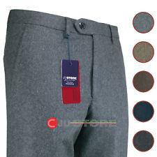 Pantalone uomo in pura lana invernale classico flanella pesante tagli conformate