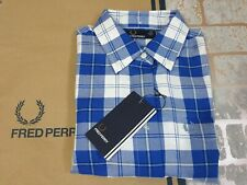 FRED PERRY Ladies TARTAN SHIRT Blue White Top RRP £75.00 size 8