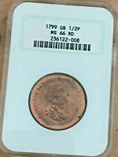1799 SOHO 1/2 Penny Magnificent Gem Unicrculated MS66 RED (1 of 2 Finest Known)