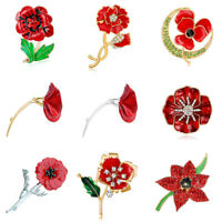 Elegant Red Poppy Flower Symbolic Brooch Remembrance Day Coat Decoration