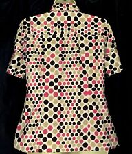 Womens Top Sz S Pink Brown Taupe Dots Stretch Cotton Button Down Shirt