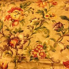 "23"" x 23.5"" Mill Creek Fabric Gold Red Purp Green Brwn Floral Damask Cotton"