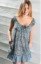 NAMASTE Cotton  Blue Floral Tunic Top Gypsy Dress Size 10 12 14 16 Fair Trade