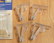 PACK OF 4 CLEAR PLASTIC TABLECLOTH CLIPS