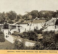 c 1905 Central Park New York Bethesda Fountain Angel Singer Sewing photo ad Card