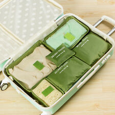 6Pcs Waterproof Travel Storage Bag Clothes Packing Luggage Organizer Pouch Green