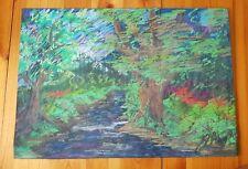 Original pastel drawing, woodlands, signed.