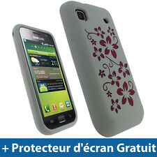Blanc Fleurs Silicone Etui pour Samsung i9000 Galaxy S Android Housse Coque Case