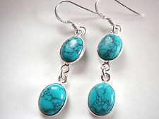 Turquoise Double-Gem 925 Sterling Silver Dangle Earrings