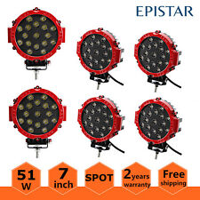 "6X 7""inch 51W Round Spot LED Light Offroad Work Roof Lamp Truck 4WD ATV 12V Red"