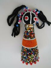 African Good Luck Fertility Doll Handmade Multicolored Beaded Ndebele #3 Orange