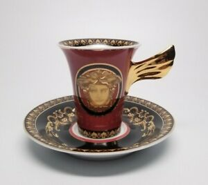 Versace Rosenthal Medusa Red Espresso Cup with Saucer Set - Official Versace