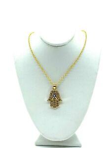 Hamsa Hand Charm Necklace w/ Clear Gems #3713