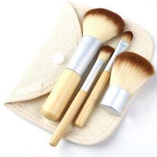 4 X Earth-Friendly bambù trucco pennello pennelli Brush Set caso Kabuki minerale NUOVO