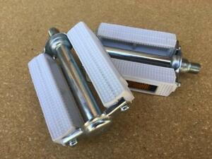 "NEW 1/2"" Classic WHITE UNION BLOCK Pedals for 1-piece Cranks Schwinn Old School"
