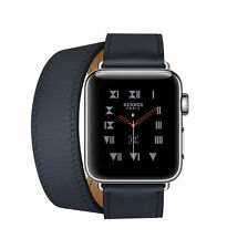 Apple Watch Hermès 38mm Stainless Steel Case with Indigo Swift Leather Double Tour Classic Buckle (GPS + Cellular) - (MQMM2X/A)