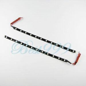 2pcs Blue 12 LEDs 30cm 5050 SMD LED Strip Light Flexible Waterproof 12V Car #JK