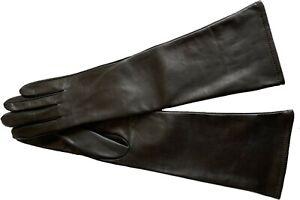 Women's Leather Gloves Semi Long Fashion Lambskin Gloves Black