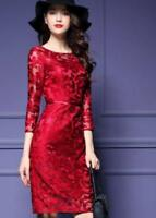 Womens Lace Floral 3/4 Sleeves Slim Lace Dress Knee Length Ball Gown Party New