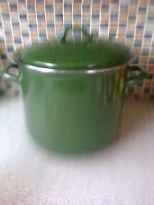 GREEN ENAMEL 12 TO 14 PINT STOCK POT WITH LID