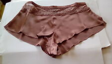 M&S Autograph Ladies Brown (Dark Bronze) Silk & Lace French Knickers size 14