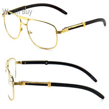 Men Women Pilot Clear Lens Eye Glasses Gold Wood Frame Fashion Retro Vintage