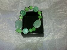 Metallic Mix Beaded Stretch Bracelet Green