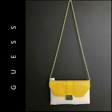 Guess Woman Cocktail Formal Sling/Clutch Purse Bag New Yellow Cream NWT