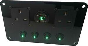 Switch Panel with 240v sockets & USB Charging Unit Motorhome VW Campervan