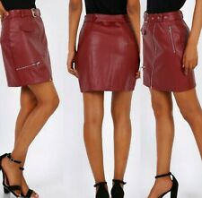Faux Leather Zip Belted Lined Burgundy Skirt sizes 8 10 12 ladies A Line ladies