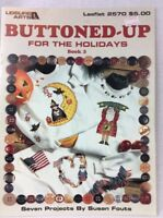 Leisure Arts Buttoned Up For The Holidays Counted Cross Stitch Pattern Leaflet