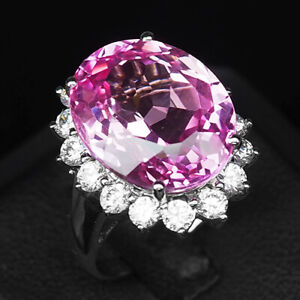 TOPAZ PLATINUM PINK OVAL 19.90 CT. SAPP 925 STERLING SILVER RING SZ 6.5 JEWELRY