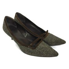 Boden Brown Tweed Herringbone Suede Rim Smart Stiletto Court Shoes Size 7/40